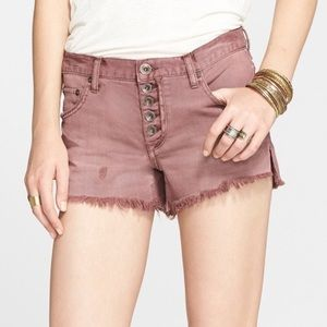 Free People Runaway Slouch Mauve Distressed shorts